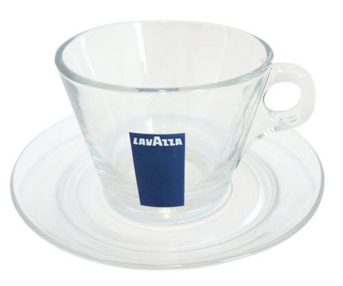 Plato y taza Cappuccino Cristal