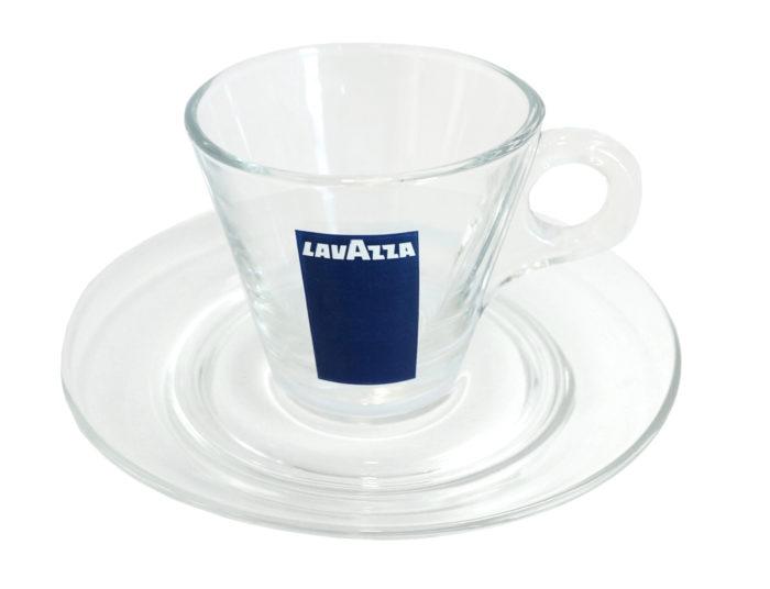 Plato y taza Espresso Cristal